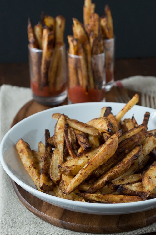 Spicy Dijon French Fries - this recipe for homemade french fries is easy and only takes 35 minutes to bake!
