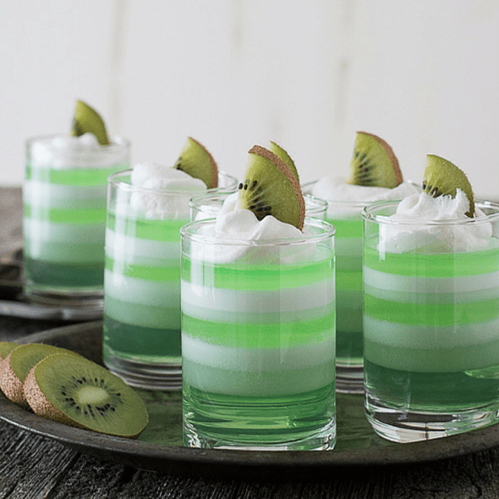 Layered Melon Kiwi Jello Cups