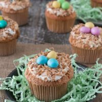 Angel Food Bird Nest Cupcakes - a fun bird nest cupcake using angel food cake and toasted coconut!