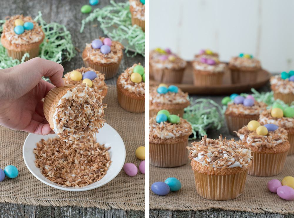 Angel Food Bird Nest Cupcakes - a fun bird nest cupcake using angel food cake and toasted coconut!