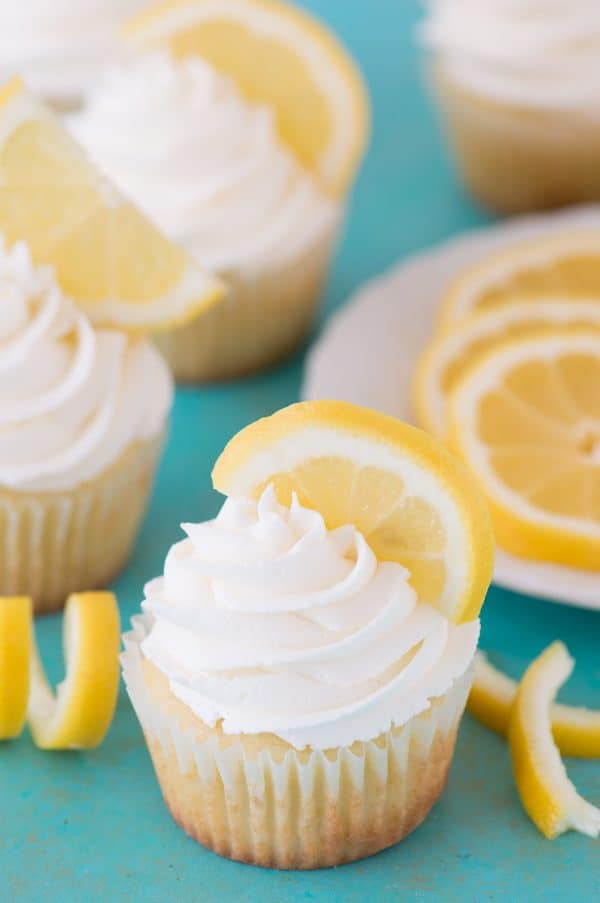 Perfect lemon cupcakes with a light lemon buttercream frosting!