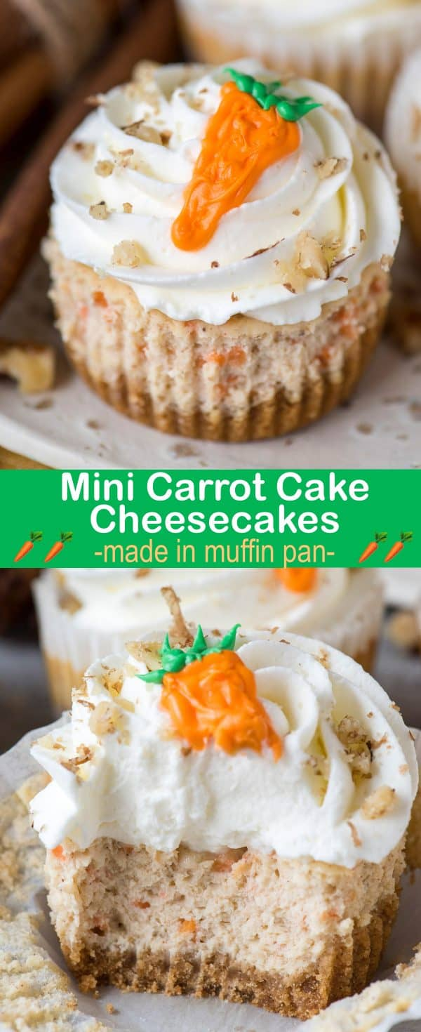 mini carrot cake cheesecake with crushed walnuts and buttercream carrot on top