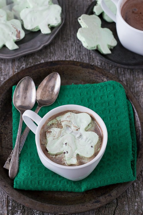 Mint Chocolate Chip Shamrock Marshmallows in a cup of Hot Cocoa
