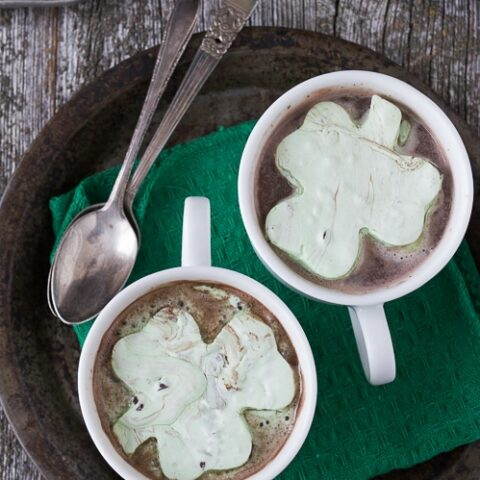 Mint Chocolate Chip Shamrock Marshmallows