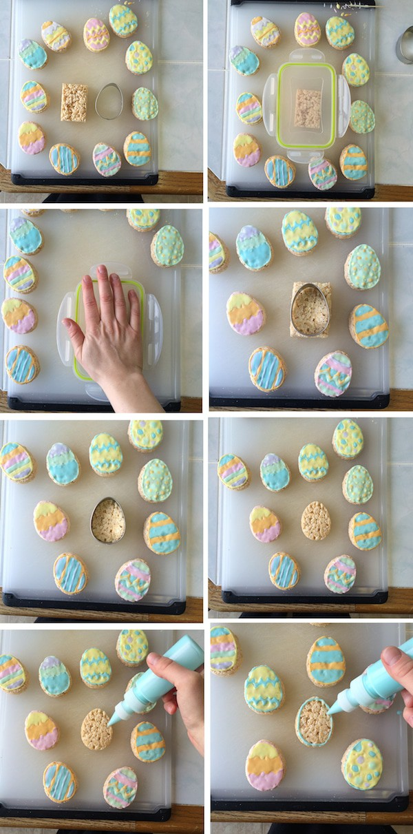 photo collage - Cutting out Rice Krispies Easter Eggs and using pastel colored royal icing to decorate egg shaped rice krispie treats.