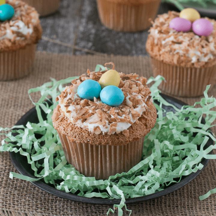 Angel Food Bird Nest Cupcakes