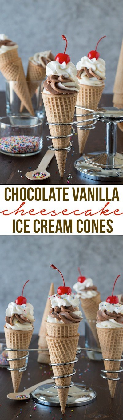 Chocolate Vanilla Cheesecake Ice Cream Cones - no bake chocolate vanilla cheesecake swirled into ice cream cones! The best way to eat cheesecake!
