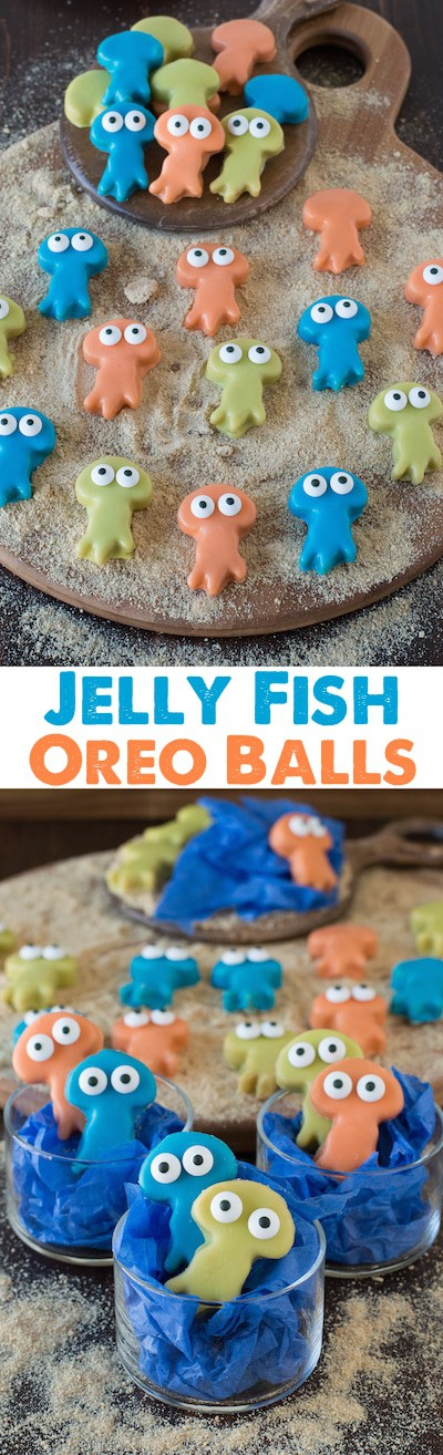 Jelly Fish Oreo Balls - super cute oreo balls that would be perfect for an under the sea party!