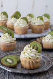 Kiwi Cupcakes - a vanilla cupcake with fresh kiwi buttercream!