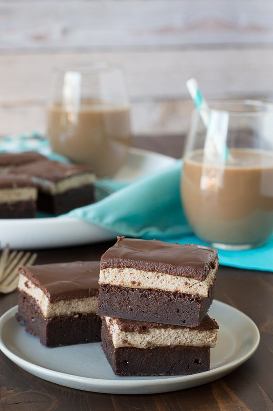 Layered Mocha Mousse Brownies - perfectly layered brownies with mocha mousse and chocolate ganache!