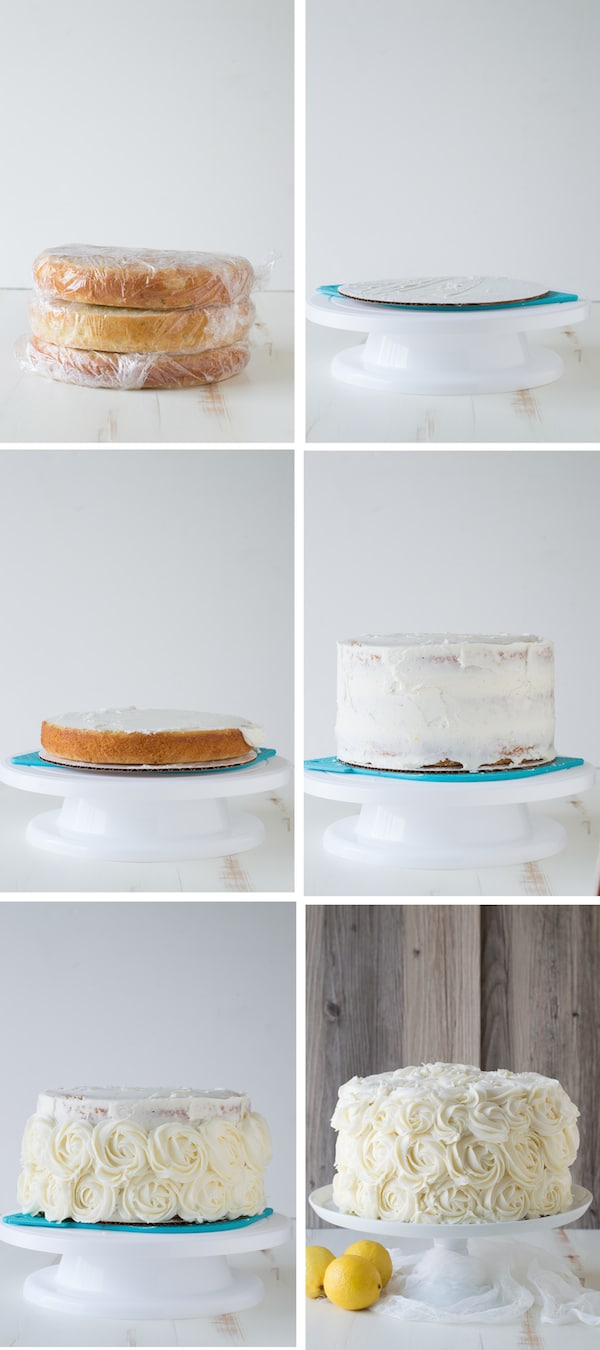 photo collage - How to frost a lemon layer cake.