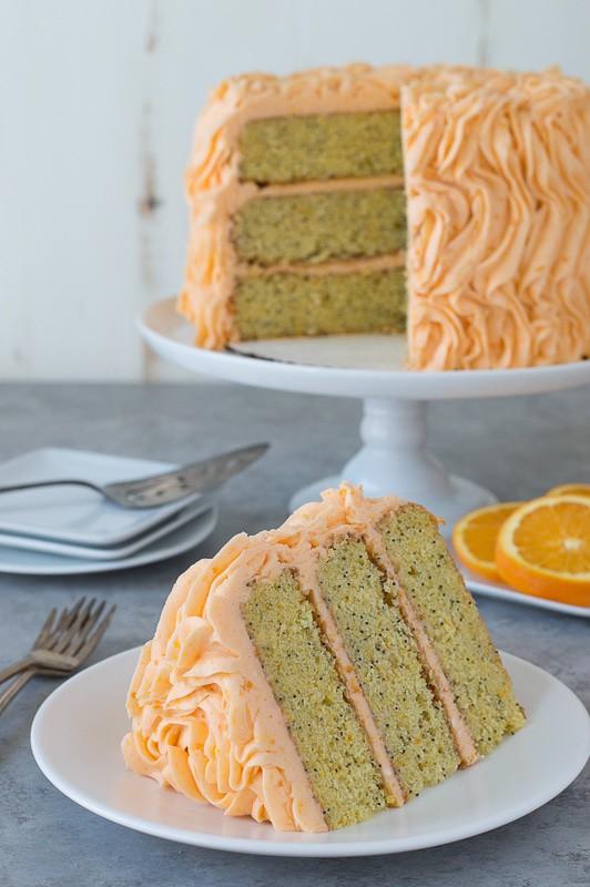 Orange Poppyseed Cake - three layer orange poppyseed cake with a fresh orange buttercream!