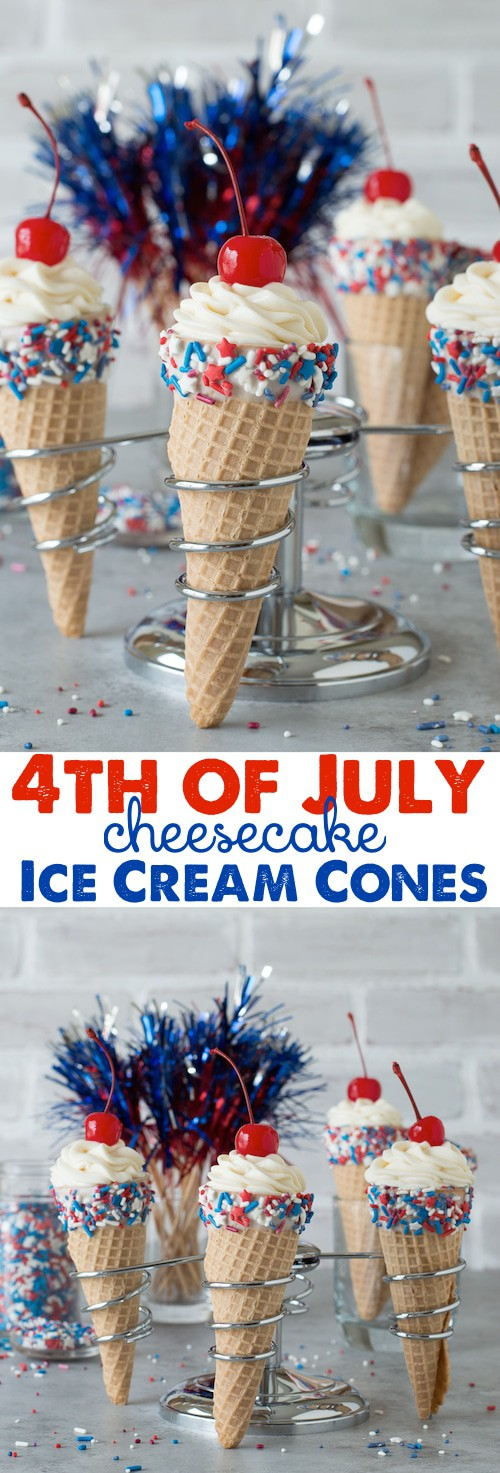 4th of July Cheesecake Ice Cream Cones - no bake vanilla cheesecake piped into 4th of july ice cream cones!