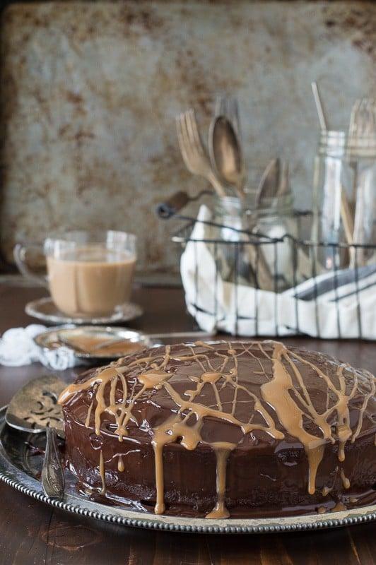 Caramel Macchiato Mud Cake - a rich, fudgy mud cake full of coffee flavor!