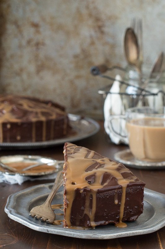 Caramel Macchiato Mud Cake - a rich, fudgy mud cake full of coffee flavor!