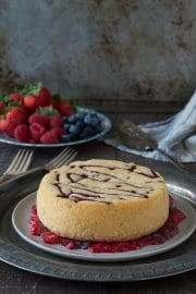 Raspberry Jam Shortcake - raspberry jam is baked into the shortcake then served with fresh mashed up berries and cream!