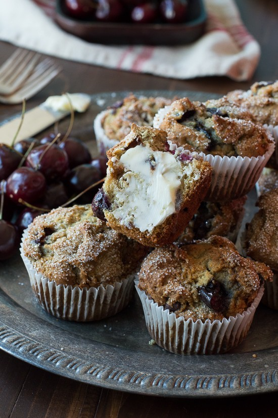 Cherry Chocolate Chip Muffins - full of fresh cherries and chocolate chips!