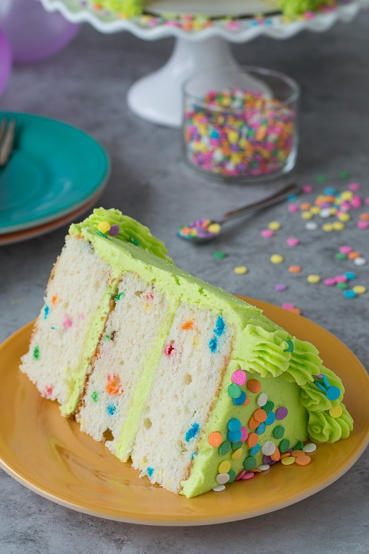 Homemade funfetti cake with lime green buttercream!