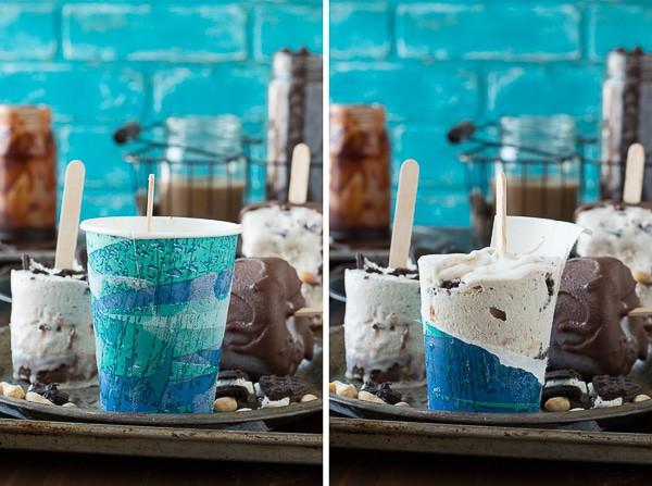 Mocha Buster Bars - homemade mocha ice cream, oreos, peanuts, and hot fudge all covered in magic shell!