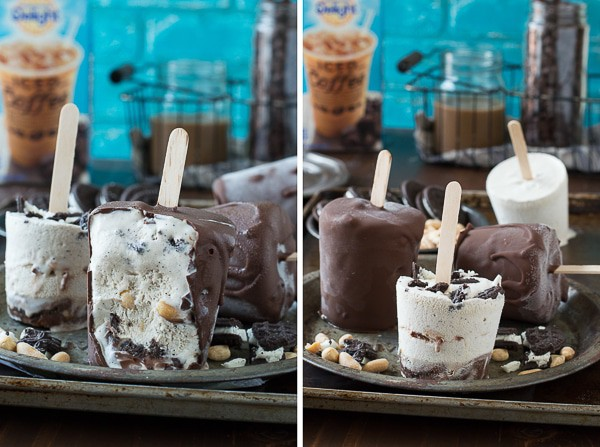 Mocha Buster Bars - homemade mocha ice cream, oreos, peanuts, and hot fudge all covered in magic shell!