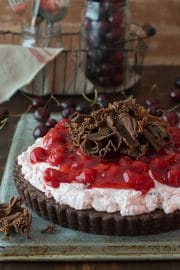 Cherry Brownie Tart - a brownie tart topped with cherry filling and chocolate curls!