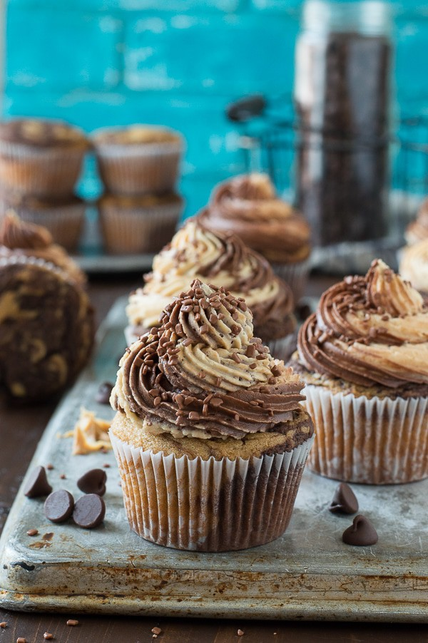 This is the best combo - swirled chocolate peanut butter cupcakes with chocolate peanut butter buttercream!