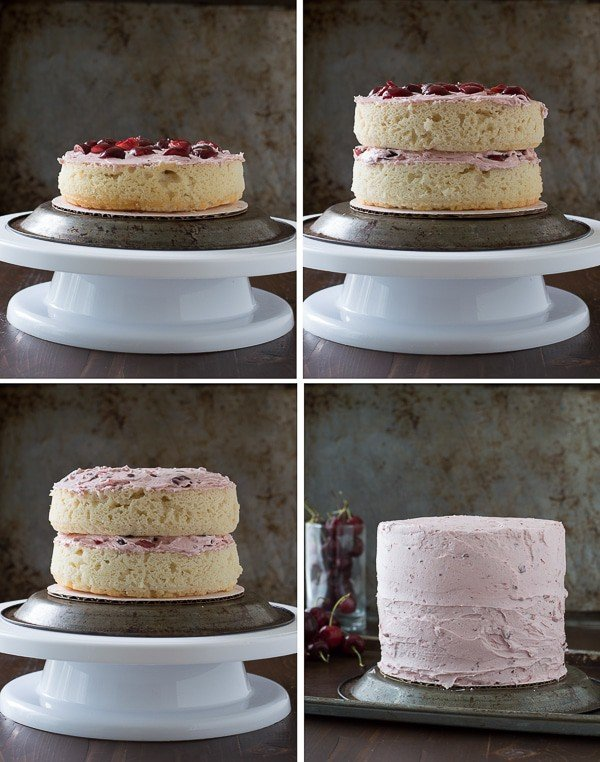 How to fill a cake with cherry buttercream.