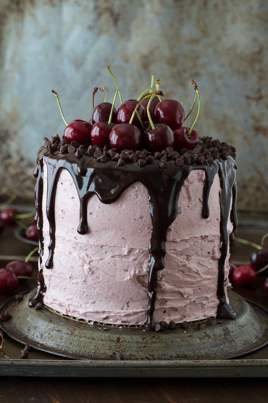 Fresh Cherry Cake with Chocolate Ganache | The First Year