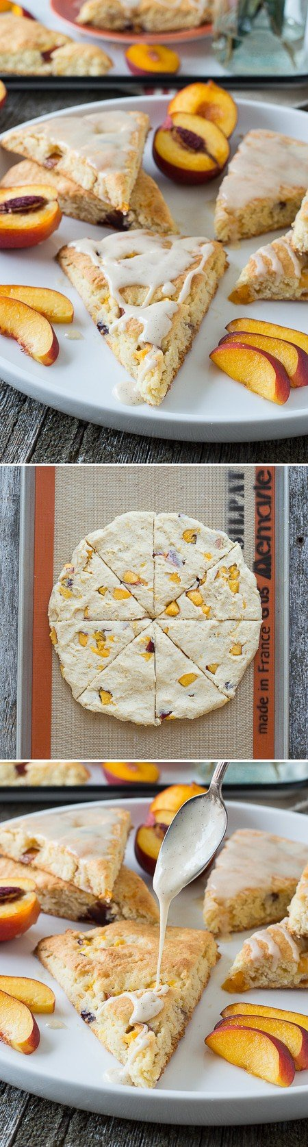 These fruit scones are loaded with fresh nectarines then drizzled with a vanilla bean glaze! Only 30 minutes from start to finish!