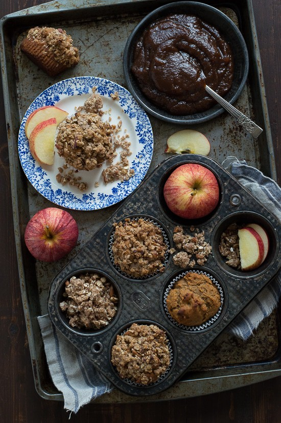 These Apple Butter Muffins are the perfect breakfast or snack for fall! Loaded with apple butter and an oat & nut streusel!