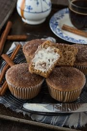 These caramel cinnamon sugar muffins have caramel coffee creamer in the batter, plus the tops are dipped in cinnamon sugar!