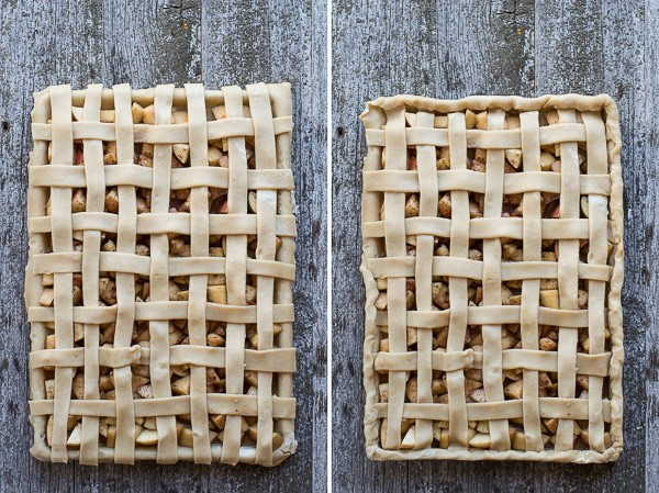 An easy slab apple pie with lattice crust! Full of fresh apples and cinnamon, with directions on how to make a lattice crust!