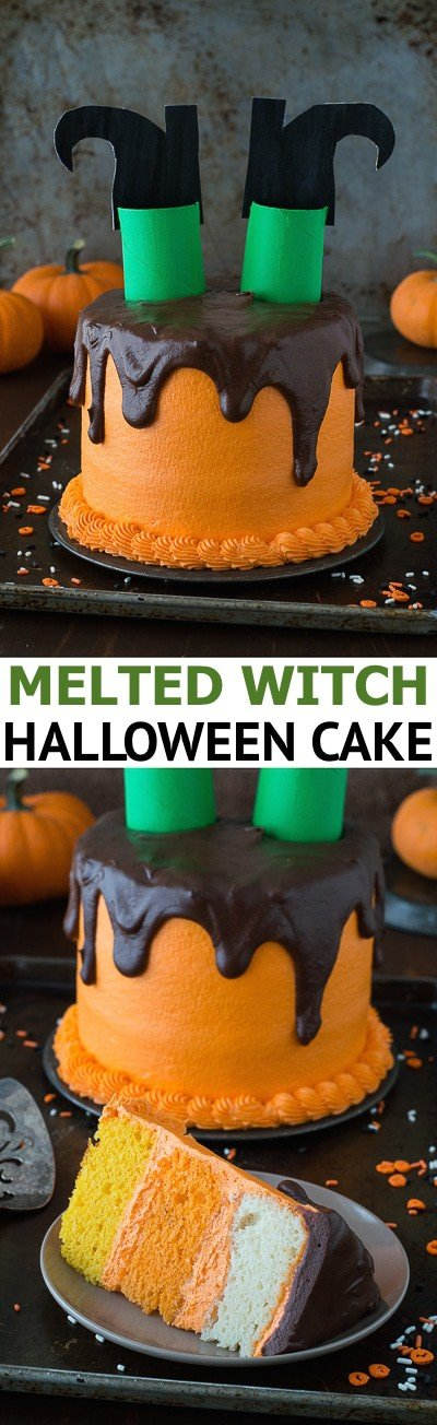 This melted witch cake is so fun! It's the perfect halloween cake!
