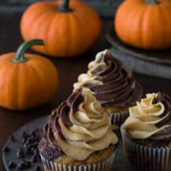 The BEST pumpkin chocolate cupcakes! With swirled cake and swirled pumpkin chocolate buttercream!