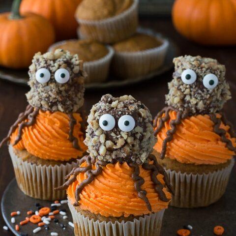 Pumpkin Walnut Spider Cupcakes