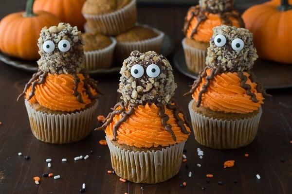 Make these fun Pumpkin Walnut Spider Cupcakes for Halloween!