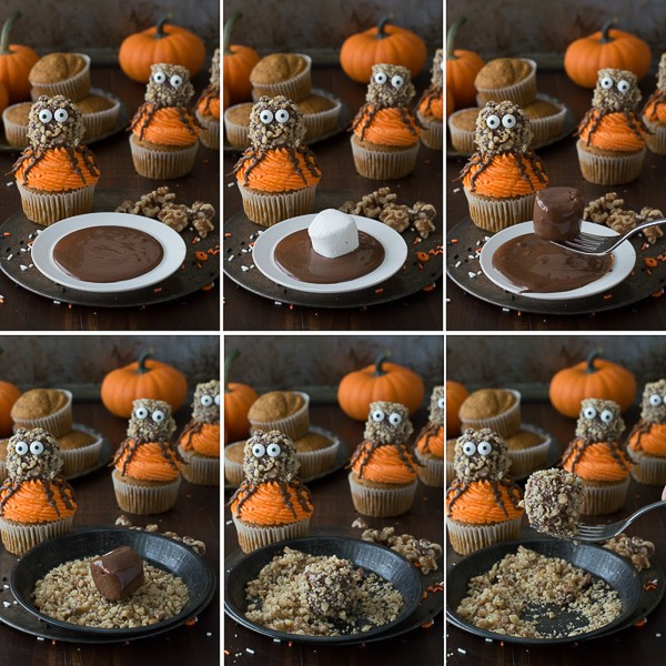 Make these fun Pumpkin Walnut Spider Cupcakes for Halloween!