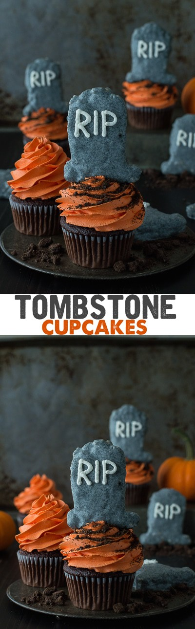 These fun halloween tombstone cupcakes are made with chocolate cupcakes and rice krispie treats that are made to look like tombstones!