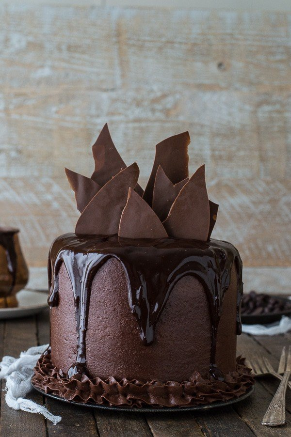 Homemade Chocolate Cake With Shatters Drizzled And Frosting
