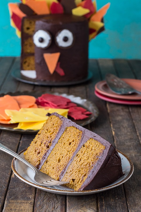 This 3 layer pumpkin chocolate turkey cake is ADORABLE for Thanksgiving! Use chocolate shards for the turkey's feathers!