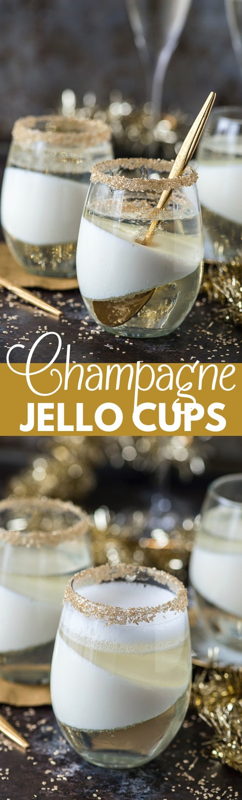 Easy champagne jello recipe that would be a perfect champagne dessert for New Year's Eve! #champagnejelloshots #newyearsevedessert