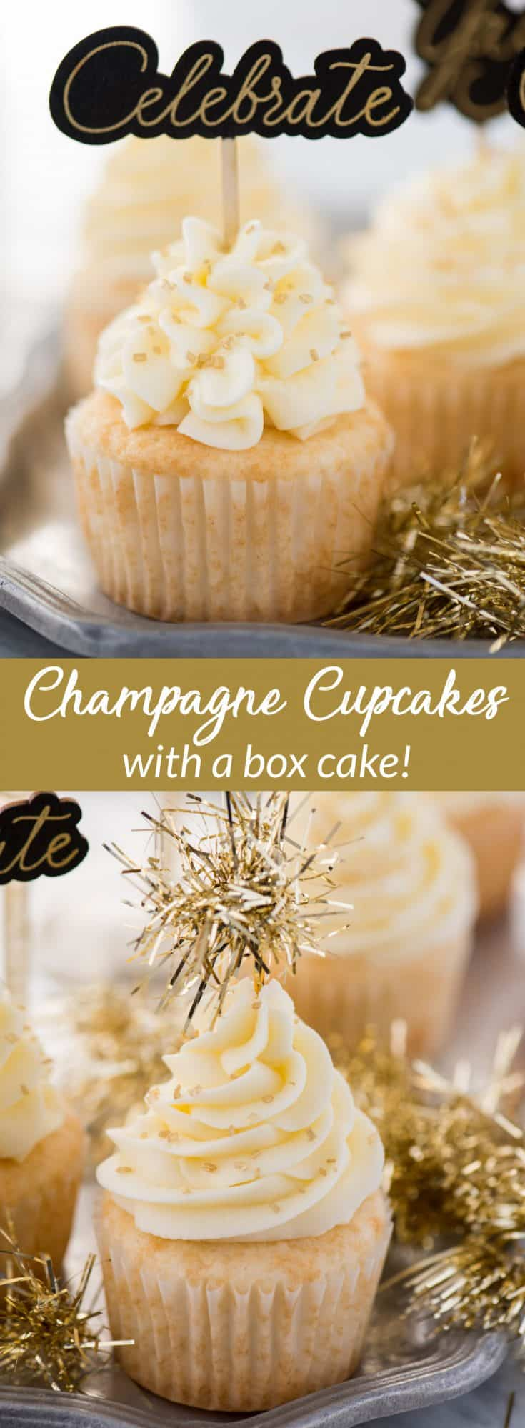 This easy champagne cupcake recipe with champagne frosting is a New Year's Eve dessert you won't want to miss! How to make champagne cupcakes using a box cake.