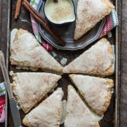 Easy 30 minute eggnog scones with eggnog cinnamon glaze!