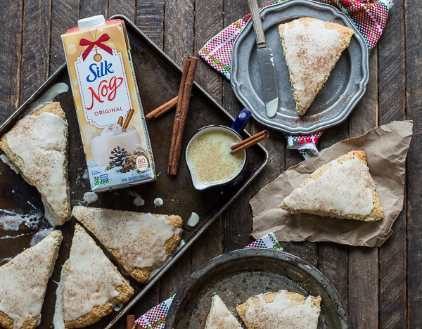 Easy 30 minute eggnog scones with eggnog cinnamon glaze!