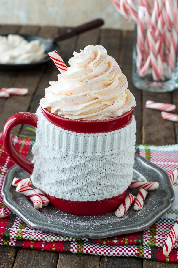 Easy 5 ingredient peppermint buttercream with crushed candy canes!