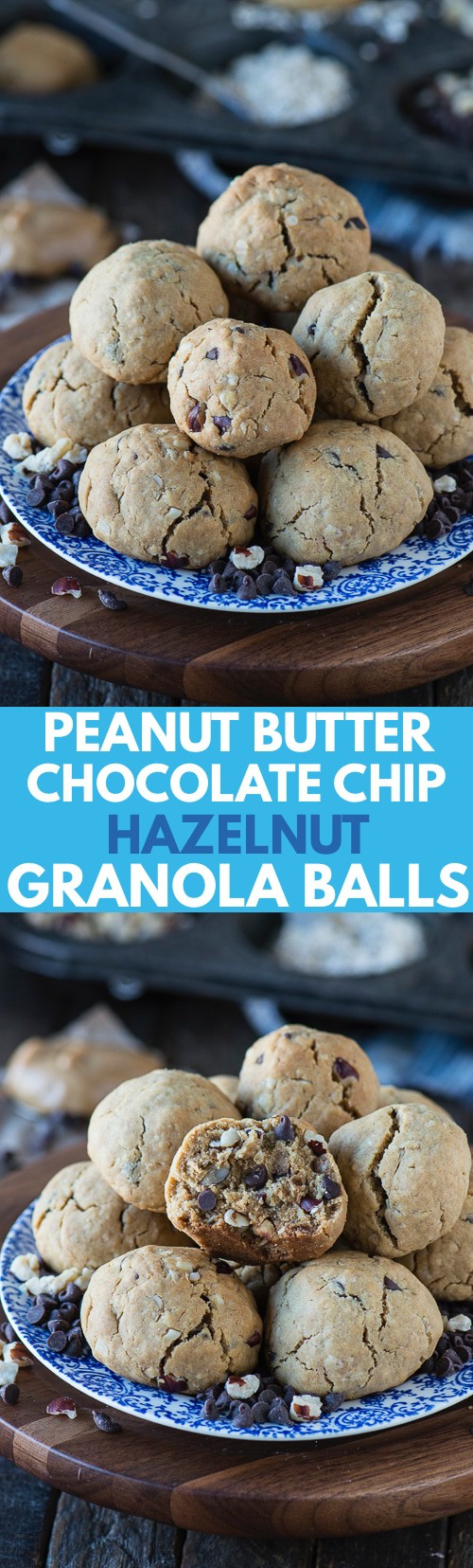 Easy baked granola ball recipe loaded with peanut butter, oatmeal and chocolate chips! 9 ingredients and less than 20 minutes to bake!