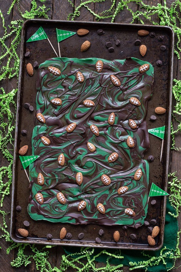 Football Bark on a Baking Sheet