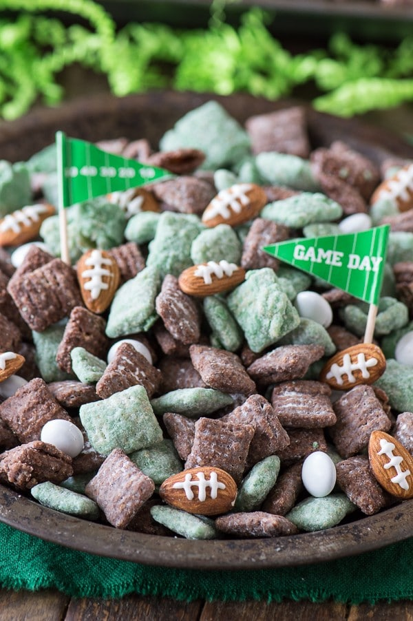 green and brown Football Puppy Chow with almonds that look like footballs and Game Day Flags
