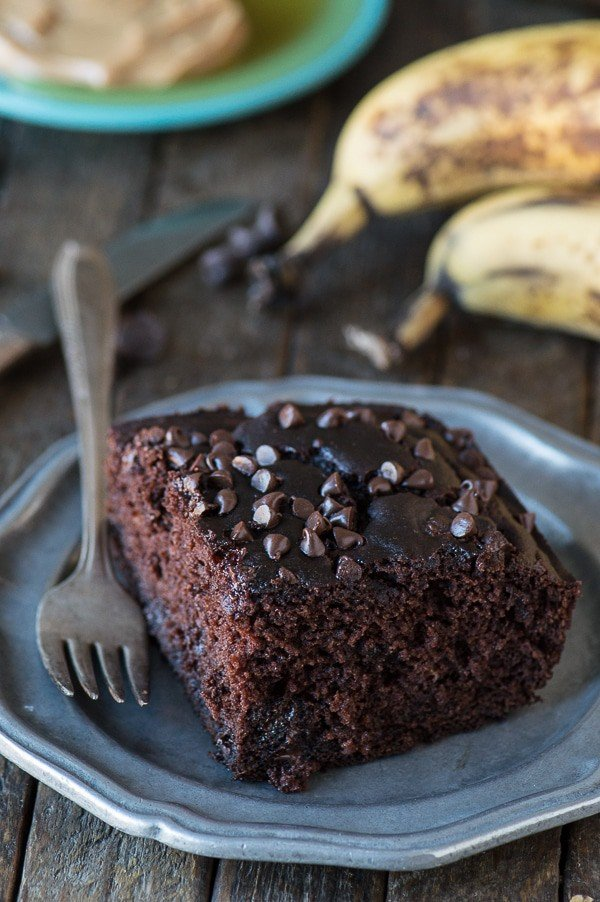 healthier chocolate cake on plate with bananas in background