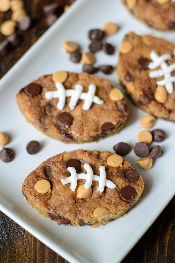 Football Peanut Butter Blondies | Well Plated